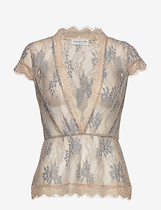 Blouse ss - short-sleeved blouses - blue antique lace