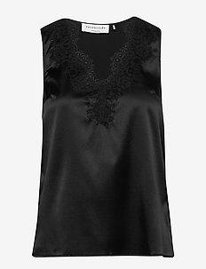 Silk top - Ærmeløse bluser - black