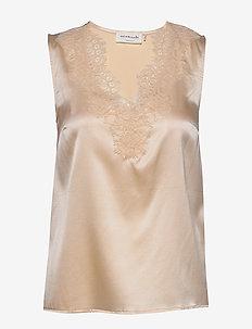 Silk top - Ärmlösa blusar - whisper beige