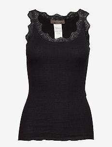 Organic top w/ lace - hihattomat topit - black