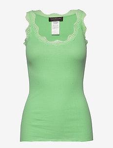 Organic top regular w/ lace - GREEN ASH