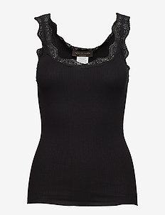 Organic top regular w/ lace - BLACK