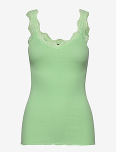 Organic top regular w/ lace - sleeveless tops - green ash