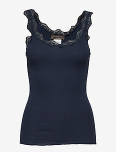 Organic top w/ lace - ermeløse topper - navy