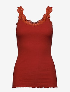Organic top regular w/ lace - topy bez rękawów - red ochre