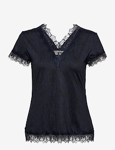 T-shirt ss - kortärmade blusar - dark blue sketch print