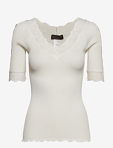 Silk t-shirt regular ss w/lace - IVORY
