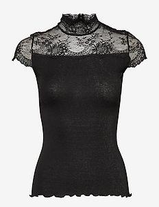 Silk t-shirt turtleneck regular ss - BLACK