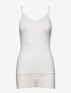Organic strap top medium w/ lace - topy bez rękawów - new white