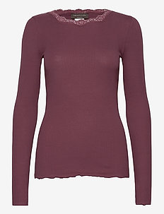 Organic t-shirt regular w/lace - långärmade toppar - grape