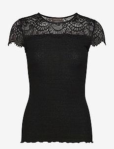 Silk t-shirt regular ss w/lace - t-shirty - black