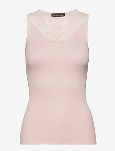 Silk top regular w/lace - DUSTY ROSE