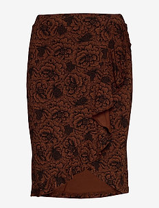 Skirt - midi kjolar - amber brown rose print