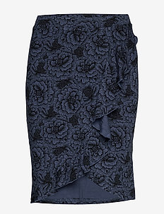 Skirt - midi - true navy rose print