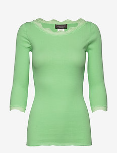 Organic t-shirt boat neck w/lace - long-sleeved tops - green ash