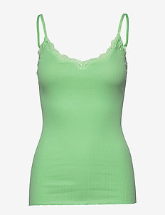 Organic strap top w/lace - sleeveless tops - green ash