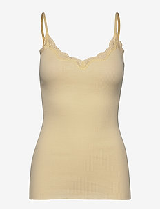 Organic strap top regular w/rev vin - sleeveless tops - pale yellow