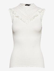 Silk top regular w/wide lace - tops zonder mouwen - ivory