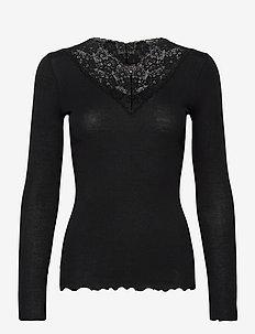 Organic t-shirt regular ls w/lace - långärmade toppar - black