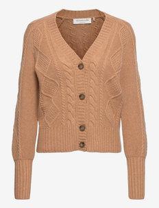 Wool cardigan ls - vesten - light almond melange
