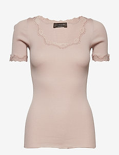 Silk t-shirt regular ss w/ rev,vint - VINTAGE POWDER