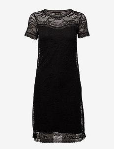 Dress ss w/lace - BLACK
