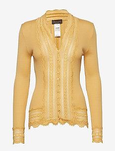 Silk cardigan regular ls w/wide lac - FALL LEAF