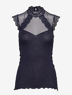 Silk top regular w/lace - NAVY