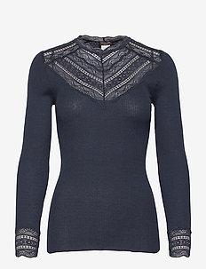 Silk t-shirt regular ls w/wide lace - topy z długimi rękawami - dark navy melange