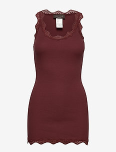 Silk top long w/lace - ermeløse topper - chestnut red