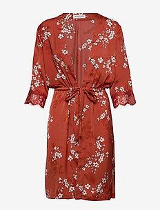 Jacket 3/4 s - kimona - red cherry bloom print
