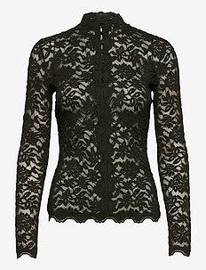 T-shirt ls - long sleeved blouses - black green