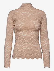 T-shirt ls - long sleeved blouses - warm pearl