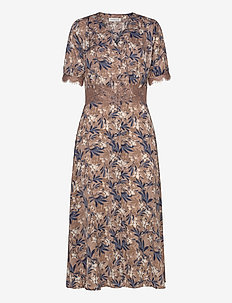 Dress ss - midi dresses - nougat poetic leaf print