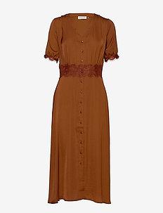 Dress ss - midi dresses - amber brown