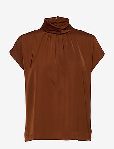 Blouse ss - short-sleeved blouses - amber brown