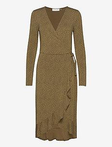 Dress ls - sukienki do kolan i midi - green whirlwind print