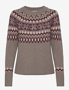Pullover ls - christmas sweaters - brown rose w/gold shimmer