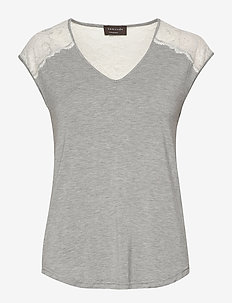 T-shirt ss - t-shirts - light grey melange w/ivory
