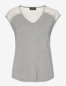 T-shirt ss - t-shirts - light grey melange w/ivory