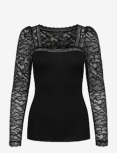 Silk t-shirt regular ls w/lace - long-sleeved tops - black