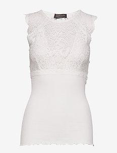 Silk top regular w/lace - IVORY