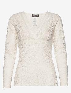 Silk t-shirt regular ls w/lace - topy z długimi rękawami - ivory