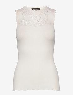 Silk top regular w/mesh - hihattomat topit - ivory