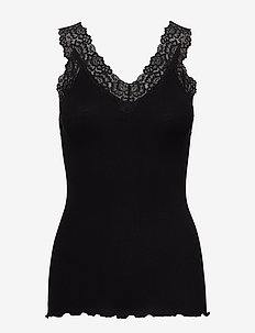 Organic top v-neck regular w/lace - Ærmeløse toppe - black