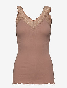 Organic top v-neck regular w/lace - basic t-shirts - nougat brown