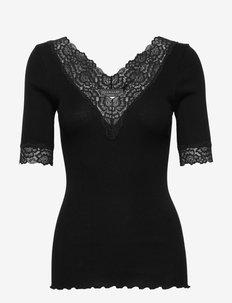 Organic t-shirt v-neck regular ss w - t-shirts - black
