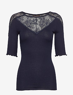 Silk t-shirt regular ss w/lace - t-shirts - navy
