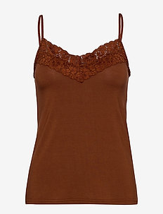 Strap top - sleeveless tops - amber brown