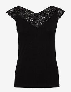 T-shirt ss - sleeveless tops - black